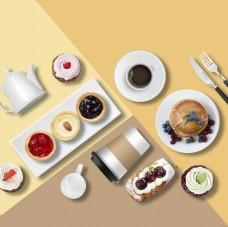 创意水果蛋糕早餐美食海报设计