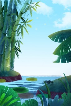 大暑手绘叶子清新蓝色手绘广告背景