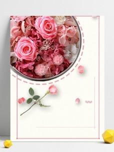 简约粉色玫瑰花背景矢量插图