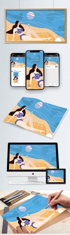 原创扁平风插画夏天你好系列之沙滩晒日光浴