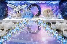 蓝色婚礼主舞台效果图