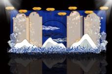 蓝色清凉中国风中式婚礼迎宾区背景效果图