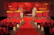 红色中国风中国红婚礼舞台效果图背景