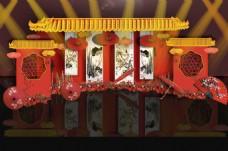 中式中国红镂空婚礼迎宾区背景效果图