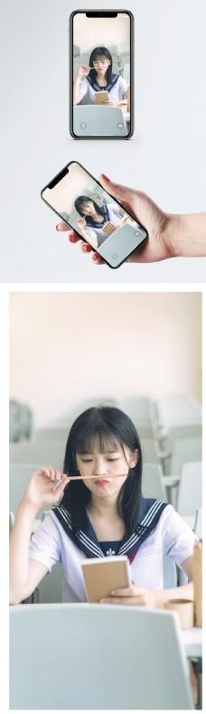 清纯校园美女手机壁纸