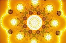 大型金黄大花地毯吊顶教堂玻璃