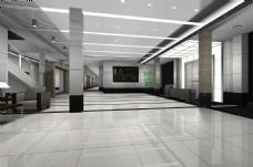 现代简约时尚科技大堂门厅效果图