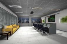 现代简约大气网络监控管理室效果图