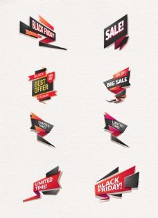 8款红黑创意折纸销售标签矢量素材