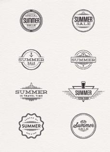 矢量黑色简约夏季促销徽章标签设计