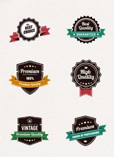 简约品质徽章和丝带元素设计素材