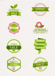 时尚绿色清新春季促销标签设计