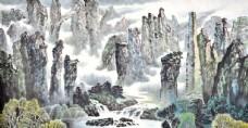 张家界中式国画素材