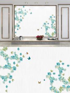现代时尚鸟语花香电视背景墙