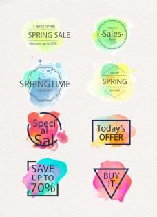 水彩清新春季大促销标签元素