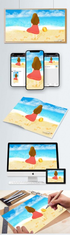 小女生背影 海边休闲 夏天场景 蓝色背景
