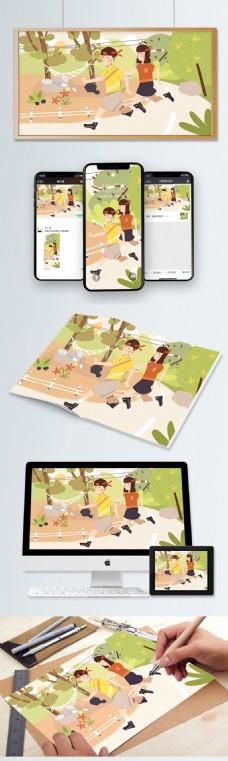 绿色人物跑步运动情侣全民运动日原创插画