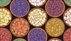 矢量彩色手绘碗中豆类