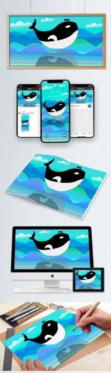海与鲸插画