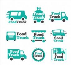9款绿色快餐车标志矢量素材