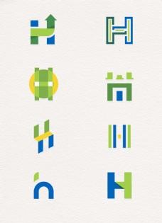 创意字母h标志矢量图