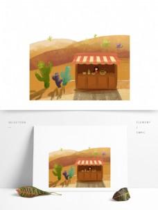 沙漠旅行手绘插画