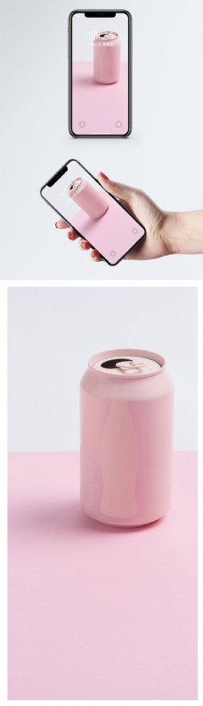 粉色可乐罐手机壁纸