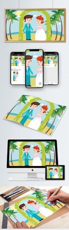 结婚婚礼卡通人物