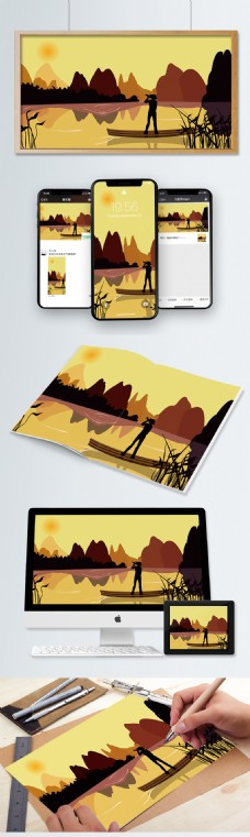 桂林旅游风景插画