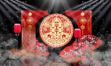 中式红色喜庆婚礼迎宾区