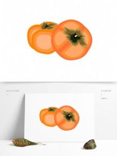 秋分秋收农作物柿子矢量元素