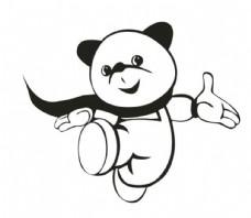 卡通单色小熊矢量图