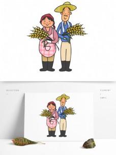 立秋秋收秋耕丰收农民麦子卡通人物手绘