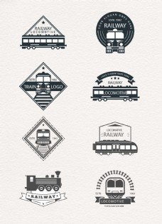 黑色火车标志矢量素材