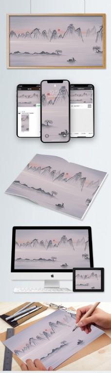 中国风山水墨画桂林山水旅行秋天插画海报