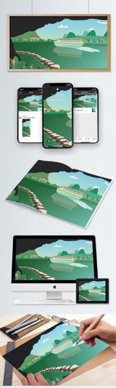 原创旅游城市风光桂林山水插画