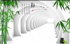 中式古典3d竹简洁背景墙素材