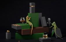 包装商业摄影蜥蜴