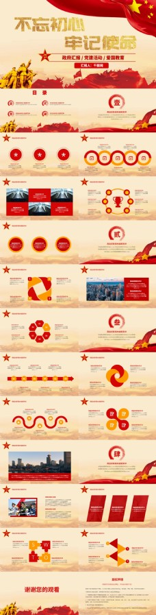红色风格党建组织汇报PPT模板
