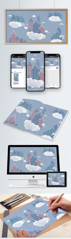 蓝天白云和可爱的小房子