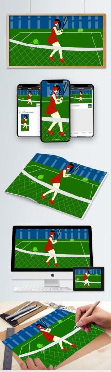 女子网球运动员插画