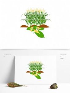 原创秋收玉米地绿色植物元素