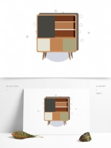 简约卡通家居家具图形元素柜子