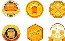 6款创意农场蜂蜜标签矢量素材