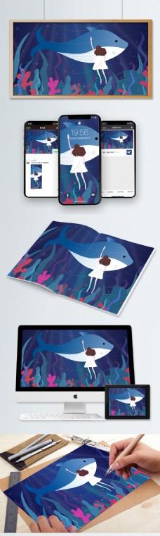 治愈系女孩与鲸鱼矢量大海插画