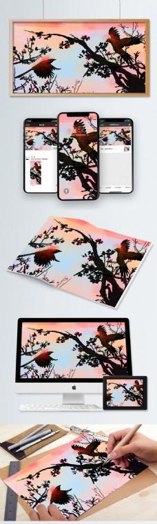 喜鹊中国风插画