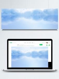 大气蓝色湖面banner背景素材