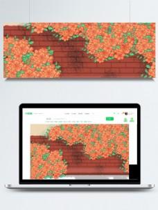 彩绘花丛围墙背景素材