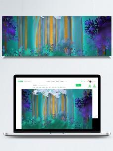 多彩手绘森林banner背景素材