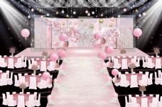 裸粉色樱花婚礼舞台效果图